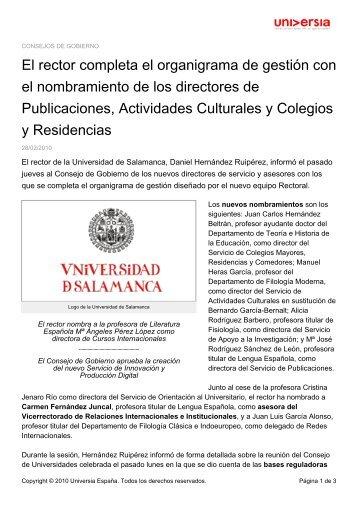 El rector completa el organigrama de gestión ... - Noticias Universia