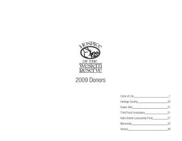 2009 Donors - Hospice of the Western Reserve