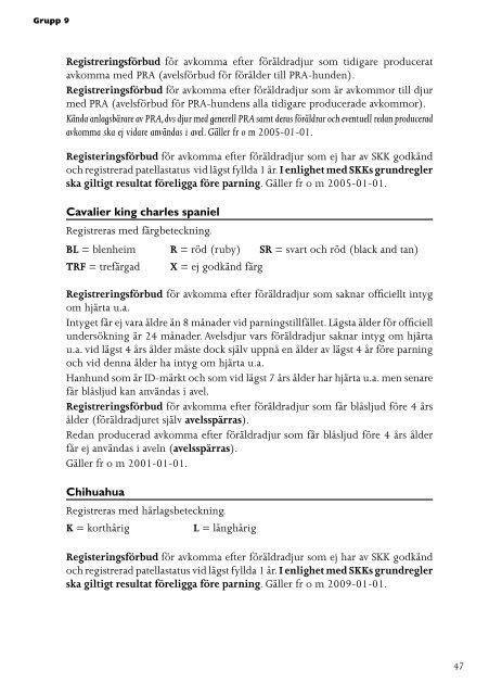 Svenska Kennelklubbens registreringsbestämmelser 2011