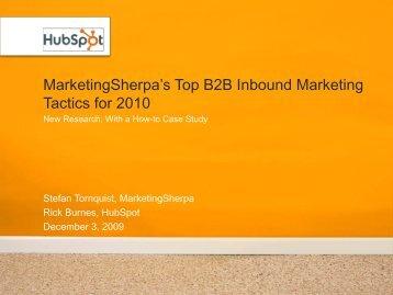 MarketingSherpa's Top B2B Inbound Marketing ... - 3FORWARD