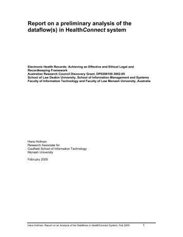 Report on a preliminary analysis of the dataflow(s) in HealthConnect ...