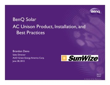 BenQ Solar Intro and AC Unison Webinar 6-28-12