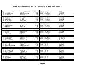 List of Bonafide Students Session 2012-13 - Dr BR Ambedkar ...