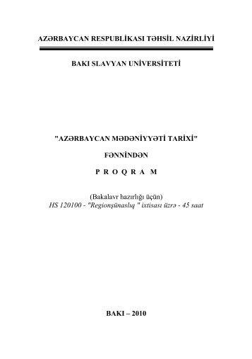 azərbaycan mədəniyyəti tarixi - Bakı Slavyan Universiteti