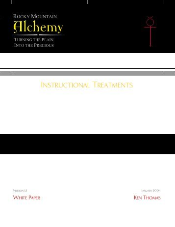 Instructional Treatments - Rocky Mountain Alchemy Splash Page