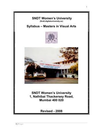SNDT Women's University Syllabus – Masters in Visual Arts SNDT ...