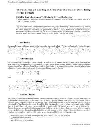 Thermomechanical modeling and simulation of aluminum ... - ZARM