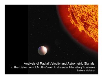 Analysis of Radial Velocity and Astrometric Signals in the Detection ...