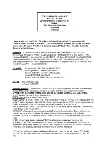 COMPTE-RENDU DE LA SEANCE du 30 JUILLET 2003 Compte ...