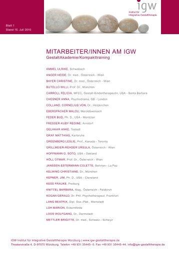 MITARBEITER/INNEN AM IGW - IGW Institut für integrative ...