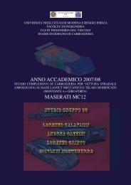 ANNO ACCADEMICO 2007/08 MASERATI MC12 - Menu dei Motori