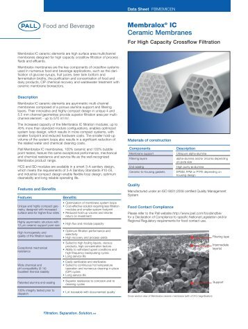 Membralox IC ceramic membranes - Pall Corporation (PLL)