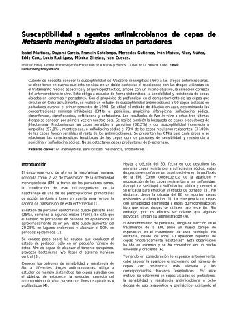 Susceptibilidad a agentes antimicrobianos de ... - Instituto Finlay
