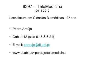 slides das aulas - Departamento de Informática - UBI