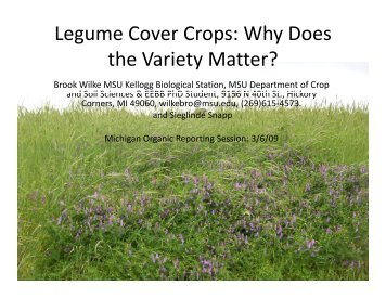 Legume Cover Crops - Organic Farming Exchange