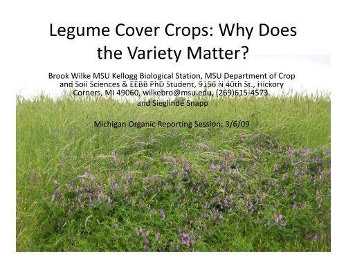 Legume Cover Crops - Organic Farming Exchange