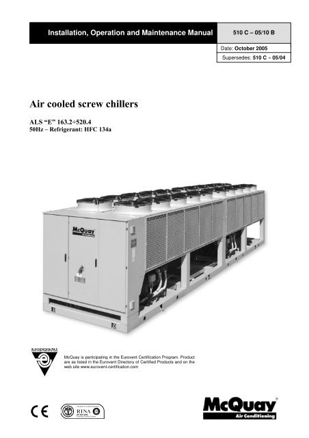 Air Cooled Screw Chillers McQuay