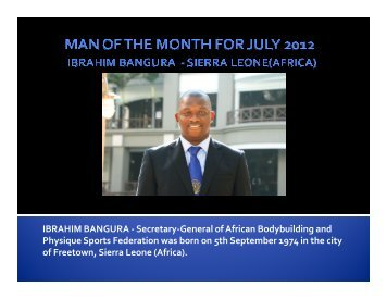 Man of the Month for July 2012 Ibrahim Bangura - ABBF