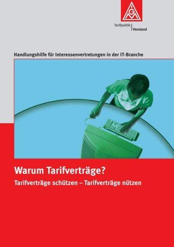 """Broschüre """"Warum Tarifverträge"""" - i-connection"""