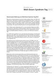 Gemeinsame Erklärung zum Welt-Down-Syndrom-Tag 2012