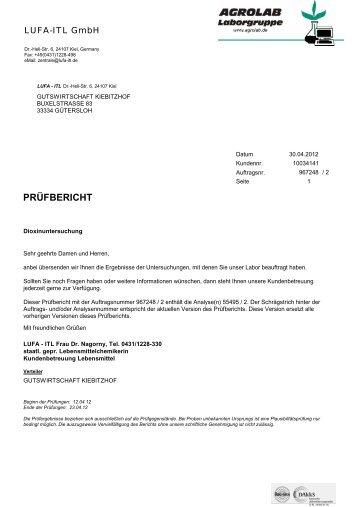 Untersuchungsergebnisse Kiebitzhof
