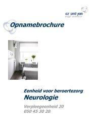 Opnamebrochure Neurologie - AZ Sint-Jan Brugge