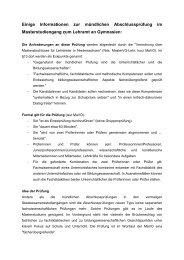 Informationen mündliche Abschlussprüfung