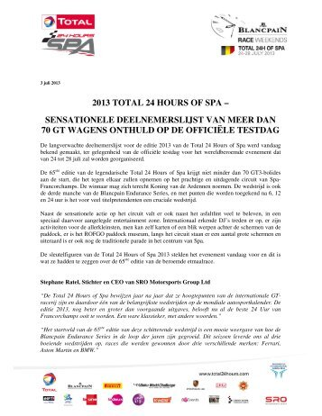 to view the full press release - Total 24 hours of Spa 2013