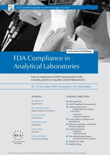 FDA Compliance in Analytical Laboratories - European Compliance ...