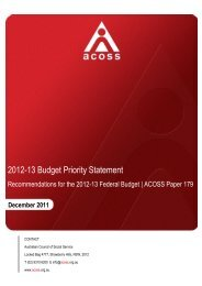 2012-13 Budget Priority Statement - Australian Council of Social ...