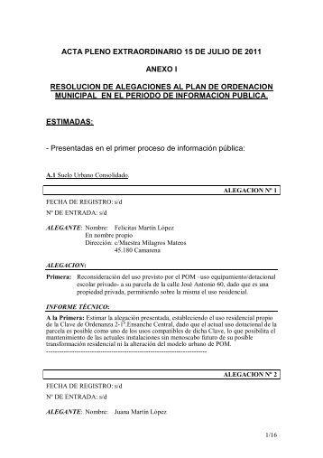 acta pleno extraordinario 15 de julio de 2011 anexo i resolucion de ...