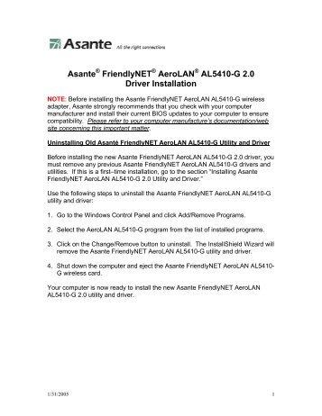 ASANTE AEROLAN AL5410-G 64BIT DRIVER