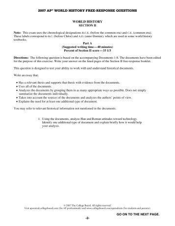 World history essay questions