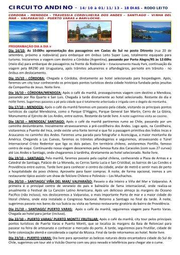 CIRCUITO ANDINO - Andes - Viagens e Turismo