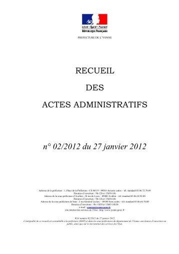 Recueil n°2 du 27 janvier 2012 - 1,79 Mb - Préfecture de l'Yonne