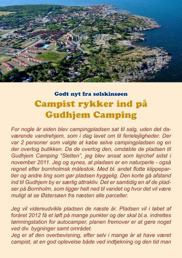 Campist rykker ind på Gudhjem Camping - Campisternes Rejseportal