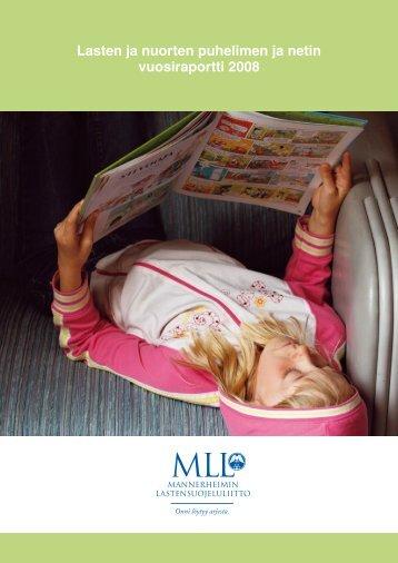 Lasten ja nuorten puhelimen ja netin vuosiraportti 2008 (pdf)