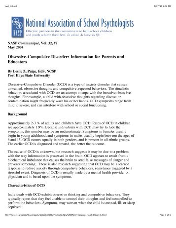 Obsessive-Compulsive Disorder: Information for Parents and ...