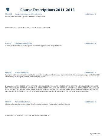 Course Descriptions 2011-2012 - Psychology - University of Toledo