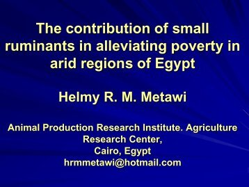 The contribution of small ruminants in alleviating poverty in ... - LiFLoD
