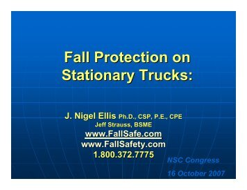 Fall Protection on Stationary Trucks: - Ellis Fall Safety Solutions