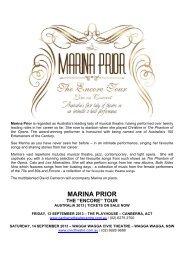 Marina Prior Encore Tour Media Release - The Events Centre