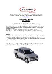 VOLKSWAGEN AMAROK W21-760-3129 PRELIMINARY ... - drive rite
