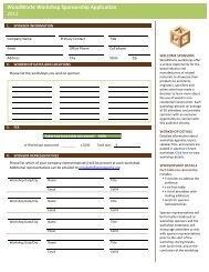 WoodWorks Workshop Sponsorship Application 2013
