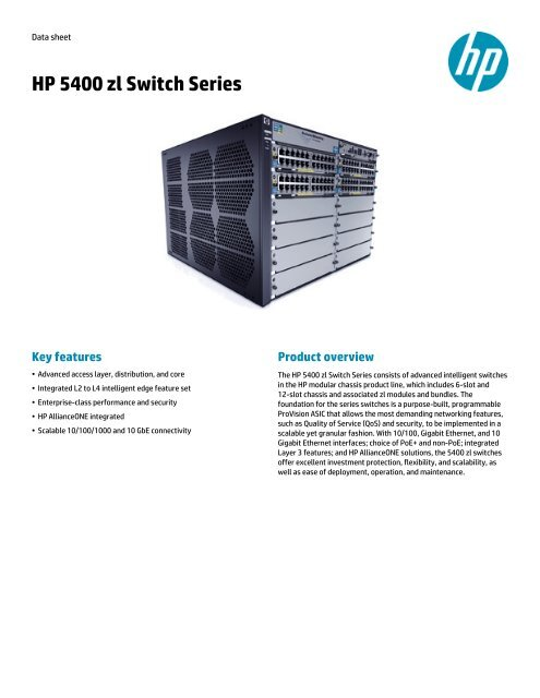 HP 5400 zl Switch Series data sheet - US English - BCDVideo