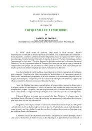 tocqueville et l'histoire - Académie des sciences morales et politiques