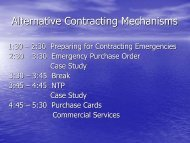 Alternative Contracting Mechanisms
