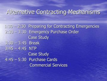 Alternative Contracting Mechanisms