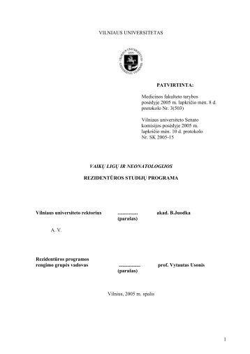 Vaikų ligos ir neonatologija - VU Medicinos fakultetas - Vilniaus ...