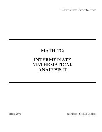 MATH 172 : Intermediate Mathematical Analysis II (Spring 2005)